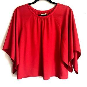 Gianni Bini Orange Breezy blouse with flare sleeve